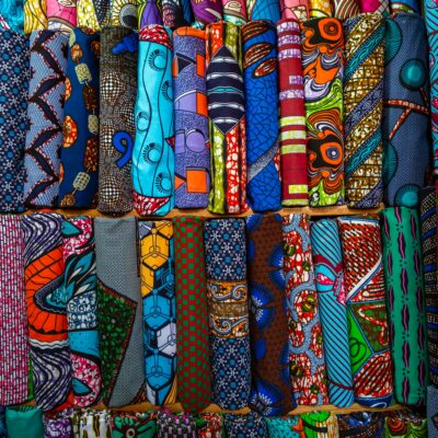 photo of colorful cloth in a market