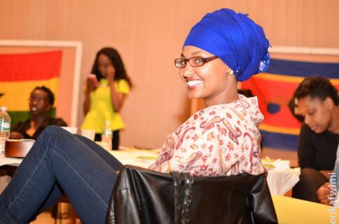 Sadia Hassan at a podium